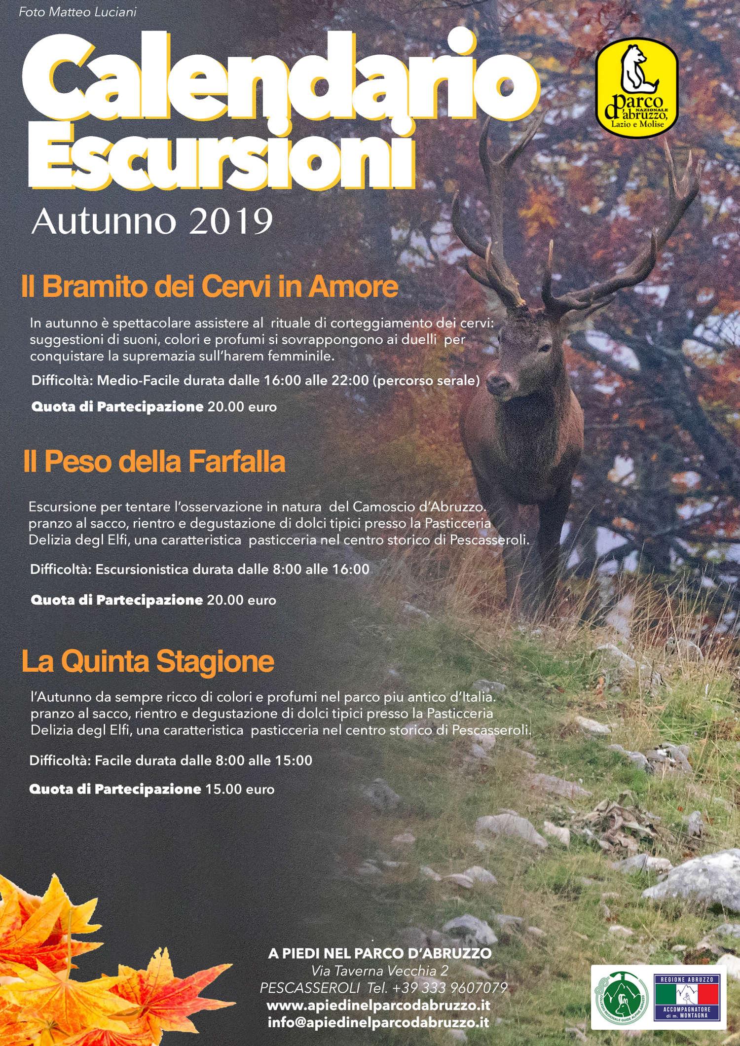 Calendario Escursioni Abruzzo autunno 2019